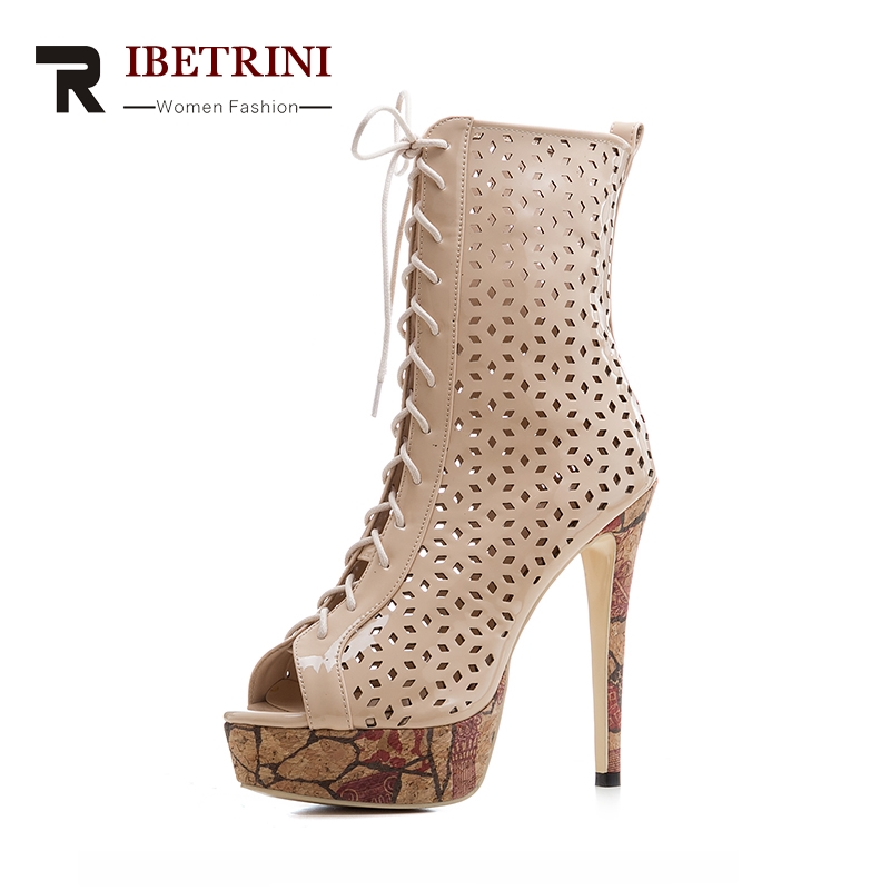 RIBETRINI New Big Size 33-43 Hollow Brand Design Shoes Summer Boots Thin High Heels Platform Party Gladiator Shoes Women