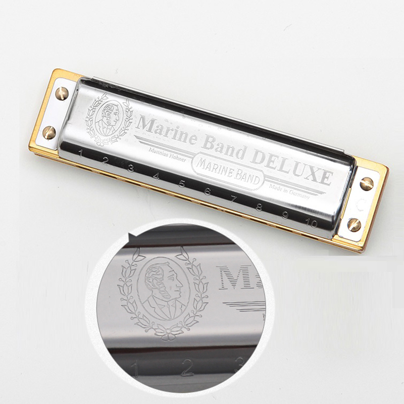 Hohner Diatonic 10 Holes Harmonica 20 Tone Mouth Organ Instrumentos Harmonica Key C Blues Musical Instruments Marine Band Deluxe easttop brass chromatic harmonica 16 hole brass abs comb musical instruments mouth organ chromatic slide harmonica good sound
