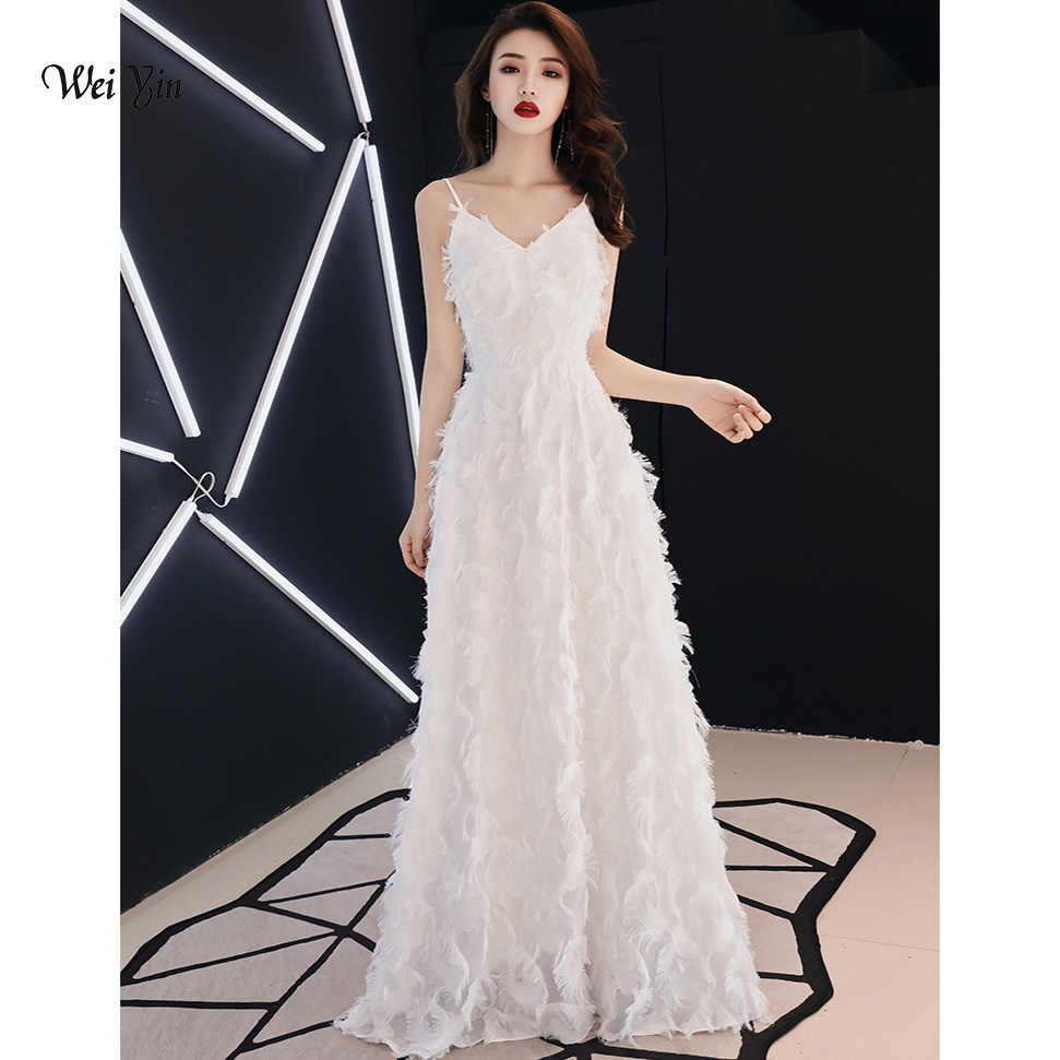 weiyin White Formal Evening Dresses V Neck Long Prom Evening Party Dress  2019 Elegant vestidos de 9344de2d2de3
