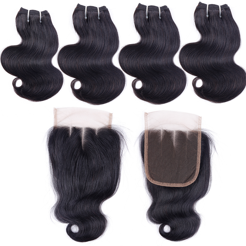 Brazilian Body Wave Human Hair Bundles With Closure UR Beauty Remy Hair 4 Bundles With Closure 50g/Bundle 5 Bundles Deals
