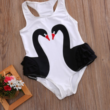 Toddler Kids Girls Swan Romper Jumpsuit Sunsuit One-Pieces Clothes Sleeveless Summer Outfits Playsuit