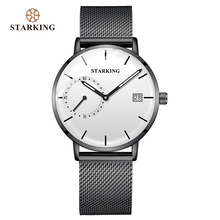 STARKING Dress Men Watch Steel Mesh Band Quartz Analog Wristwatch 3atm Waterproof Curved Glass Blue Male Clock Relogio Masculino