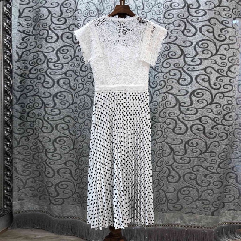 white Mi Broderie Élégantes Patchwork Robes Printemps Crochet Black Imprimer Polka D'été Dot Vintage Robe Femmes mollet 2019 Partie Dentelle Style wfp6wH