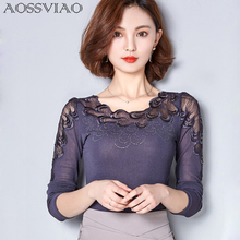 Vetement Femme Women Tops And Blouses 2017 New Fashion Winter Lace Blouse Long Sleeve Ladies Office Shirts Korean Clothing Blusa