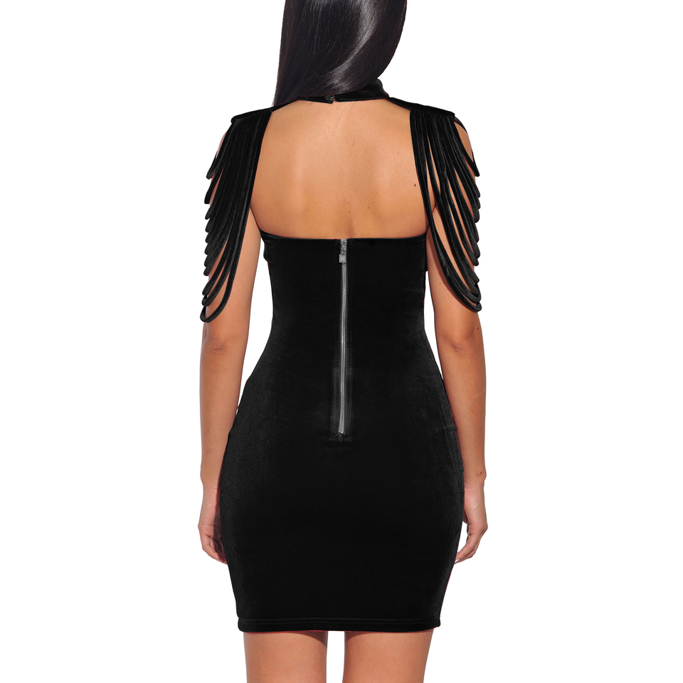 Vintage Sleeveless Removable Collar Velvet Bodycon Dress