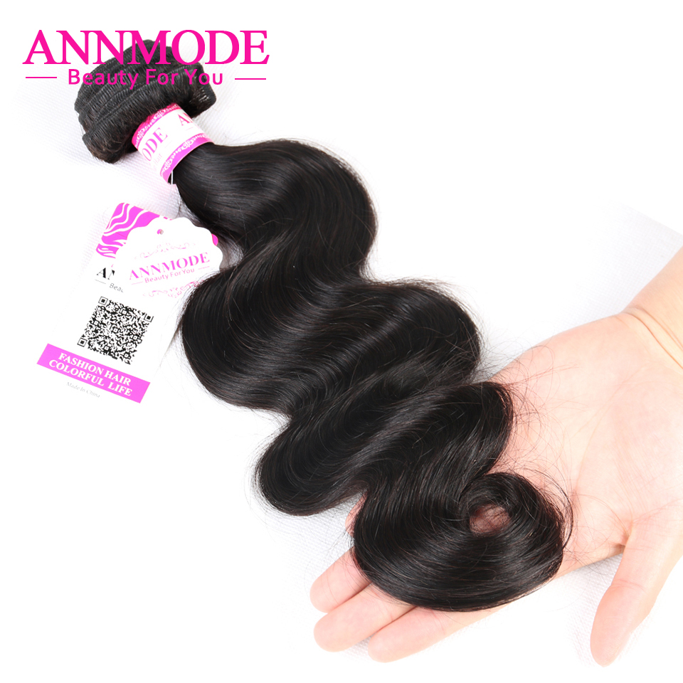 Annmode Hair 1/3/4 Bundles Peruvian Body Wave Hair Natural Color Non - Menneskehår (sort) - Foto 3