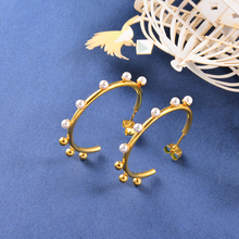 цены на Baoyan Stainless Steel Circle Pearl Earrings Rose Gold/Silver/Gold Plating Small Round Hoop Earrings For Women Fashion Jewelry  в интернет-магазинах