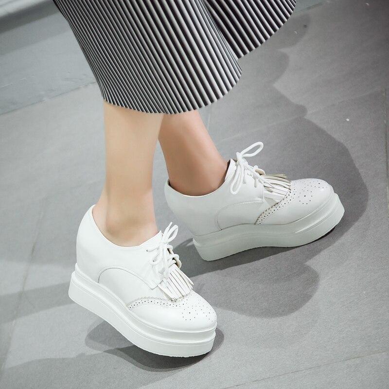 ФОТО 2016 new woman platform shoes pu leather high-heeled platform shoes round toe wedges single shoes female shoes