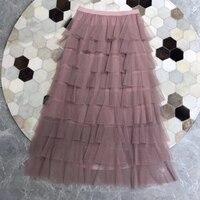 Юбка трапеция 2019 Женская юбка Длинная летняя юбка с оборками элегантная Макси Повседневная юбка высокого качества Однотонная юбка женская