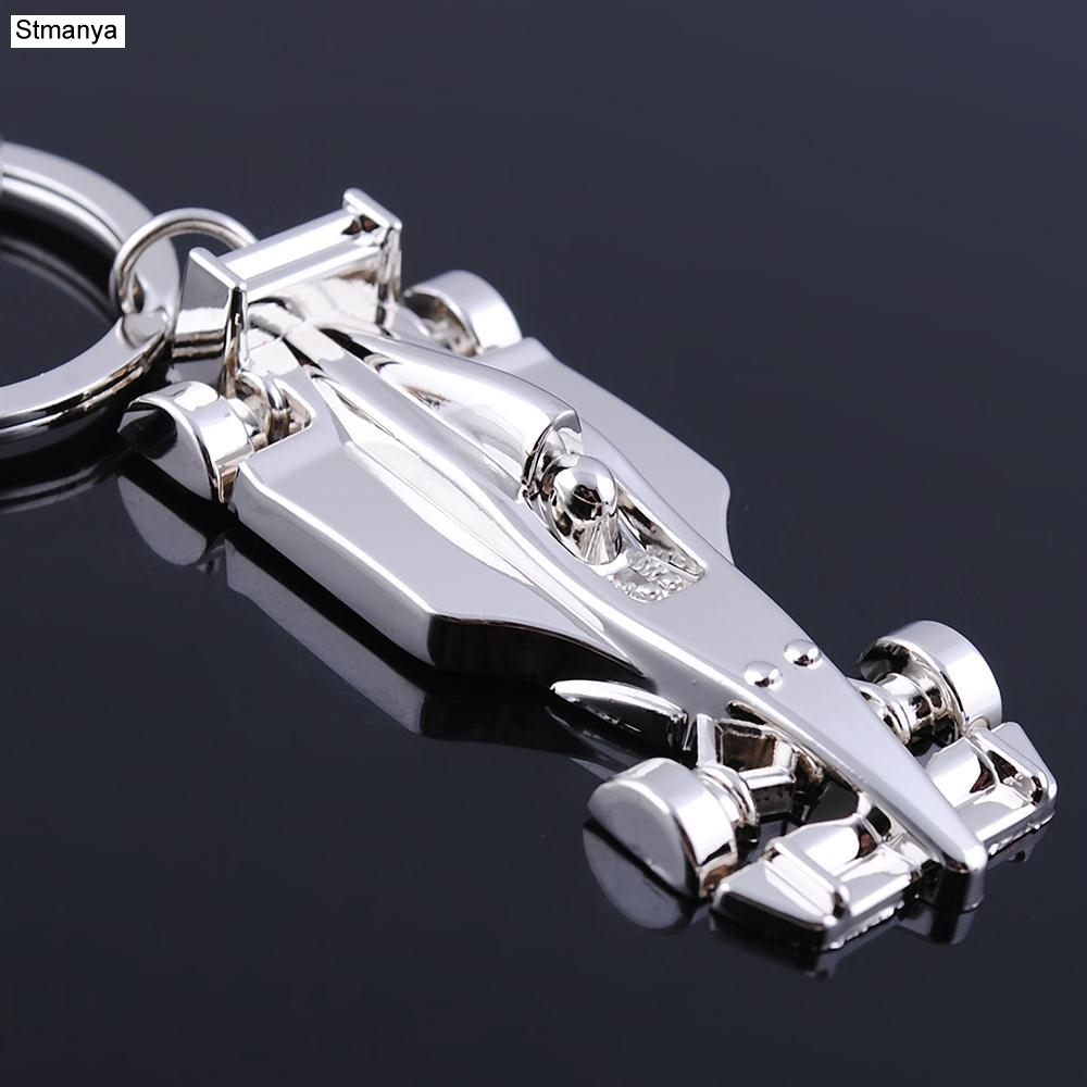 New Arrive Racing Key Chain Silver Color Alloy Full Wheel Car Key Chain F1 Racing Car Keychain For Christmas Gift Key Ring 17026