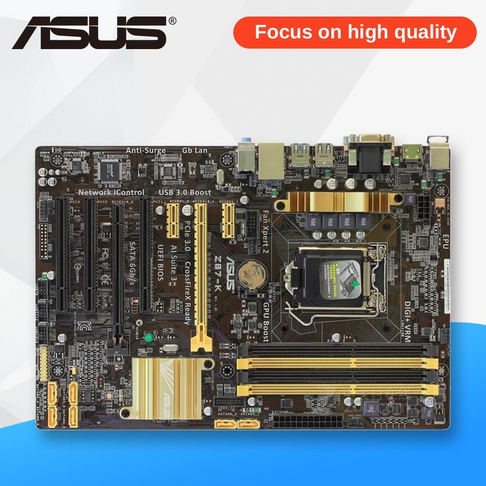 Asus Z87-K Desktop Motherboard Z87 Socket LGA 1150 i7 i5 i3 DDR3 32G SATA3 USB3.0 ATX asus z87m plus original used desktop motherboard z87 socket lga 1150 i7 i5 i3 ddr3 32g sata3 usb3 0 micro atx