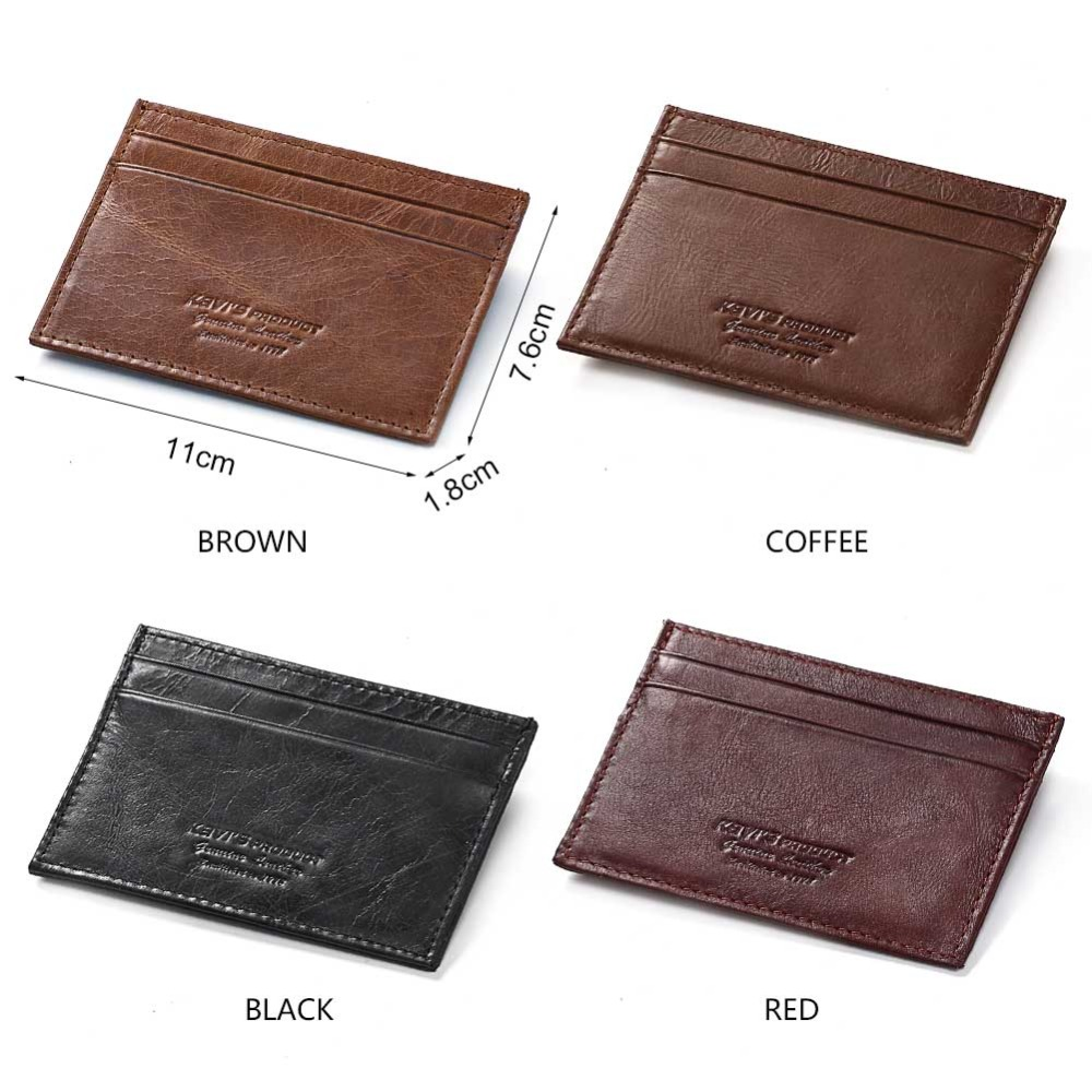 KAVIS Cow Leather Credit Card Wallet Multifunction Credit ID Cards Holder Small Wallet Men Coin Purse Slim Thin Male Mini Walet
