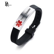 Men Women Free Engraving Disease Name Medical Alert ID Bracelets Custom TYPE 1 Diabetes Silicone Bracelet Bangle Adjustable