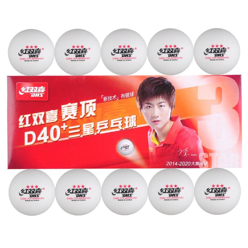 2 boîtes (20 pièces) DHS 40 + ABS 3 étoiles blanc balles de tennis de table nouvelle technoly couture balle sans cellule double 3 étoiles balles de ping-pong