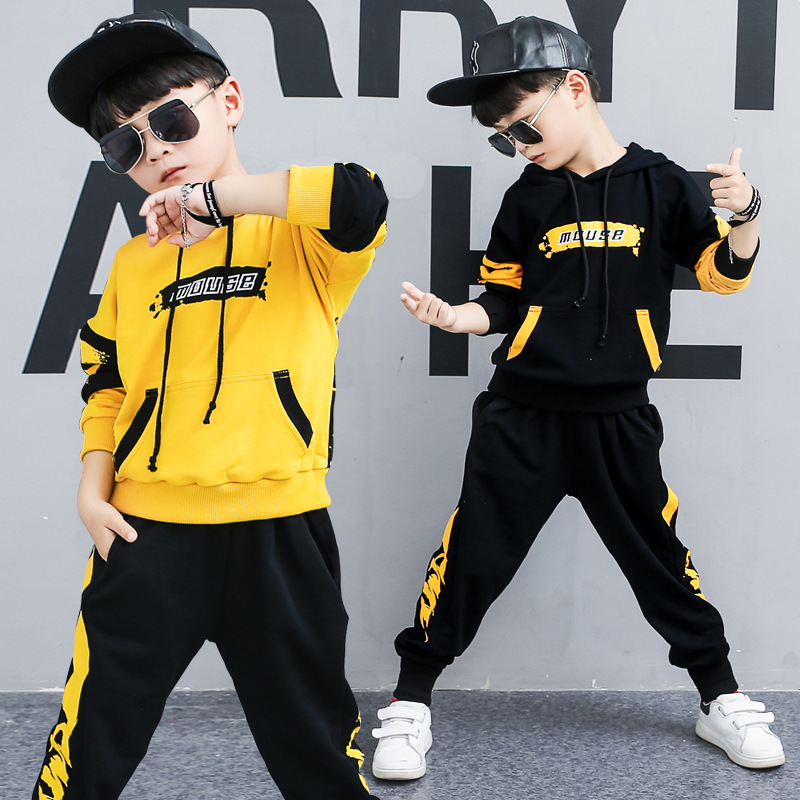 2019 Spring Autumn Kids Clothes Boys 3 4 5 6 7 8 9 10 11 12 Years Boys Clothing Set Sports Suit Boys Hooded Jacket And Pants|Clothing Sets| |  - title=