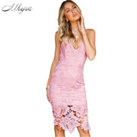 Mhysa 2018 New Summer Women S Dresses Sexy Suspenders Lace Bag Hip Dress Plus Size Dress