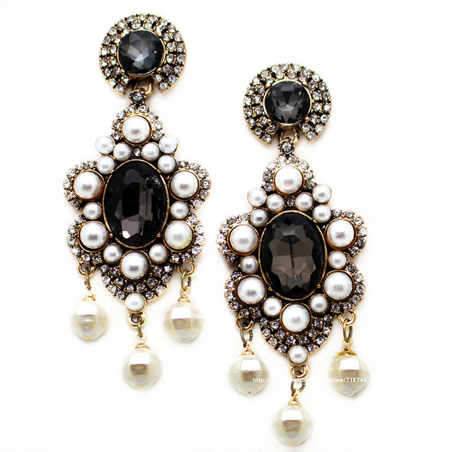 Brand luxurious statement earring fashion gray pearls with crystal stud Earrings for women chrismas gift jewelry PENDIENTES