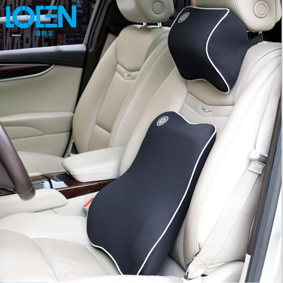 1set high quality space memory cotton car seat headrest seat back lumbar support pillows cushion universal black beige red blue