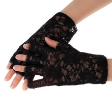 Gloves Women 1Pair Lady Party Sexy Dressy Lace Gloves Mittens Fingerless Guantes Mujer Gothic Summer Sunscreen Mittens #OR