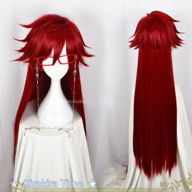 บัตเลอร์สีดำ Kuroshitsuji Grell Sutcliff สีแดงยาวตรงทนความร้อนผมคอสเพลย์วิกผม + Skull Chain แว่นตา
