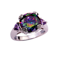Hot sale! Fine Jewelry Wholesale Cocktail Mystic Rainbow Topaz Amethyst Purple 925 Silver Ring Size 7 8 9 10 11 Free Shipping