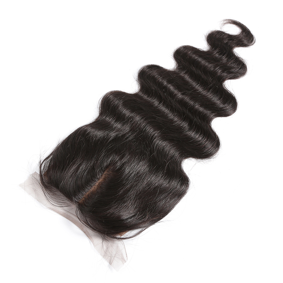 Покер лицо тела волна Remy закрытие средняя часть кружева бразильские 10 18 дюймов шелковая основа натуральный цвет человеческие волосы - 2
