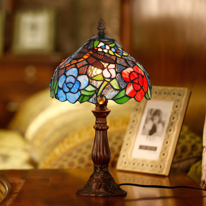 8 Inch Tiffany Table Lamps Luxurious Ancient Garden E27  Bedside Lamps Living Room Decoration Bedroom Lamp