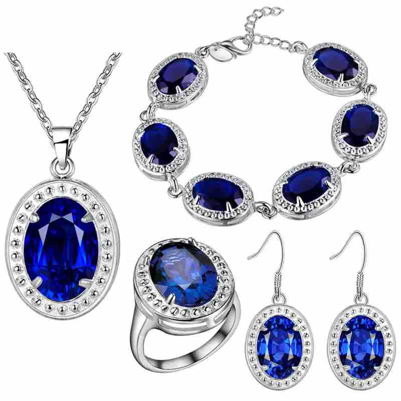 A thick silver plating jewelry set new fashion multicolored jewelry wholesale trade suit Xian beautiful blue stone