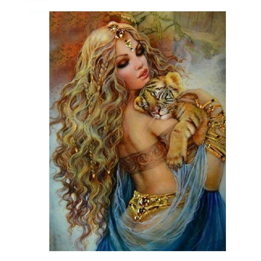 indian fairy with tiger_