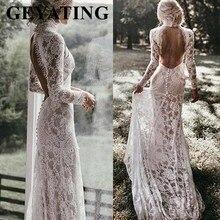 בציר שנהב תחרה בת ים בוהמי חתונת שמלה ארוך שרוולים רומנטי גבוה צוואר גב פתוח Boho חוף שמלות כלה 2020 חדש