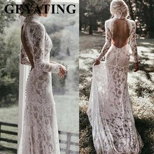 Vintage Ivory Lace Mermaid Bohemian Wedding Dress Long Sleeves Romantic High Neck Open Back Boho Beach Wedding Dresses 2020 New