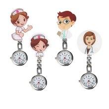 Стильный прозрачный белый циферблат с арабскими цифрами Подвесные часы для мужчин и женщин мультфильм доктор/узор с изображением сиделки практичный зажим из нержавеющей стали