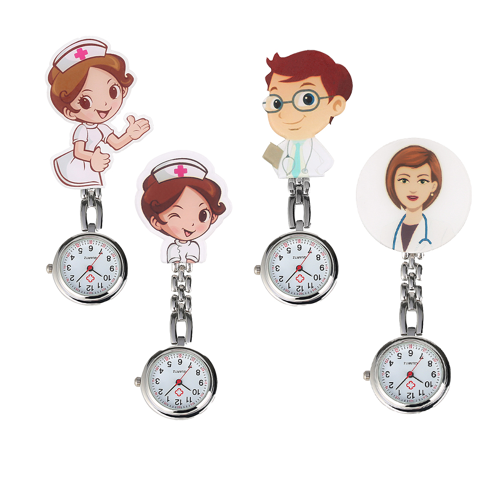 Stylish Clear White Arabic Numerals Dial Pendant Watch For Men Women Cartoon Doctor/Nurse Pattern Practical Stainless Steel Clip