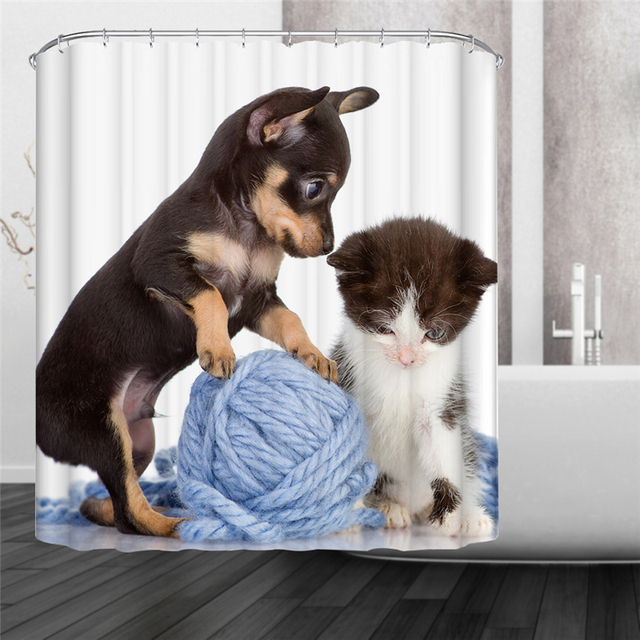 Holiday Puppy Cat Goldfish Dog Waterproof Mildewproof Polyester Shower Curtain Bath Decorations With 12pcs Hooks