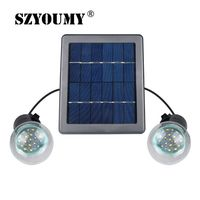 SZYOUMY Outdoor/Indoor Solar Powered led Lighting System Light Lamp 2 Bulbs solar panel emergency light Camping light