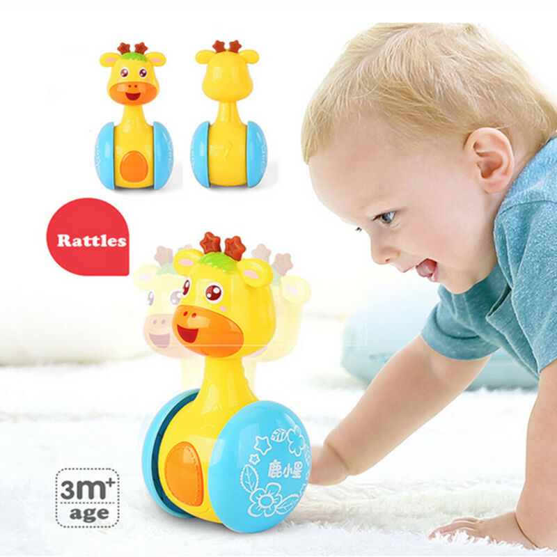 1x Baby Rattles Tumbler Doll Toys Learning Education Toys Safety Adorable Tumbler Doll Gifts For 3-12 Months