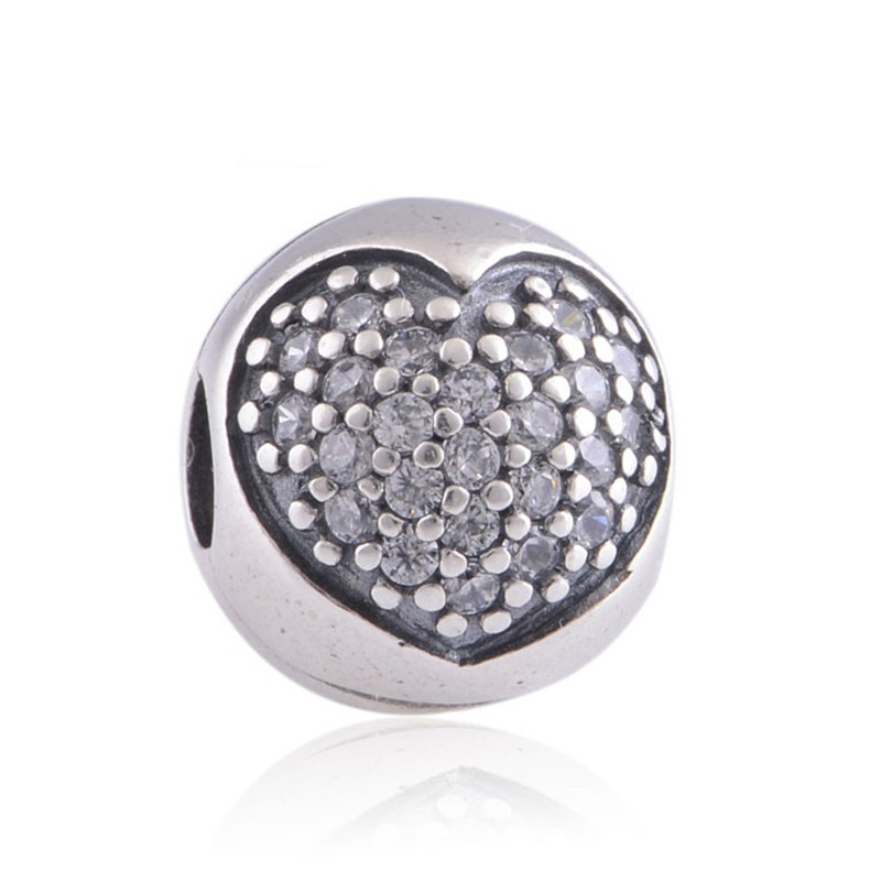 Wholesale 925 Sterling Silver Lock Clip pave crystal beads Heart Charms European Jewelry DIY fits Pandora charm bracelets