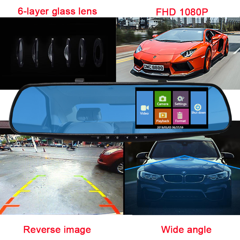Image 3 - Jiluxing Car DVR 1080P touch screen Dual Lens Car Camera Mirror Video Recorder Rearview Mirror DVR Dash cam Auto Camcorder-in DVR/Dash Camera from Automobiles & Motorcycles