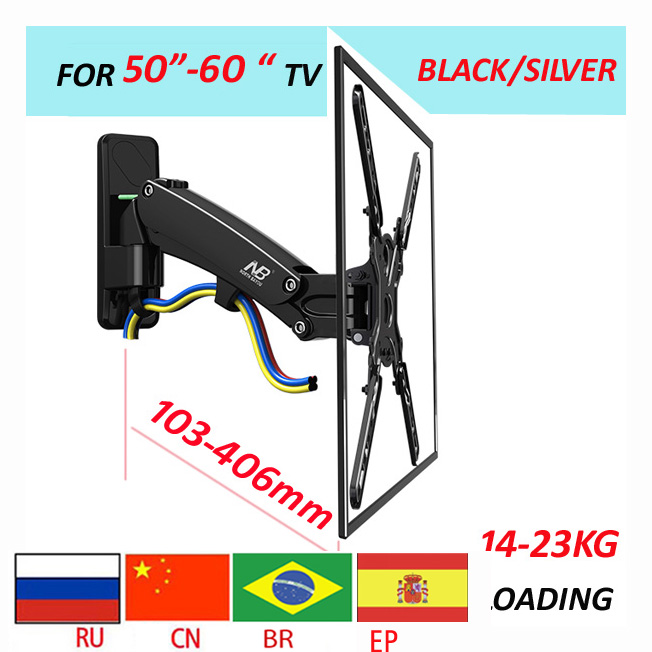 NB dual Long arm50-60 14-23kg air press Gas spring F400 full motion Monitor wall bracket LCD PLASMA tv mount lcd holder supportNB dual Long arm50-60 14-23kg air press Gas spring F400 full motion Monitor wall bracket LCD PLASMA tv mount lcd holder support