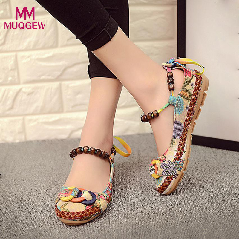 Women Summer Shoes Ladies Colorful Ethnic Beading Round Toe Colorful Casual Embroidered Cotton Shoes Female Fashion Sandals