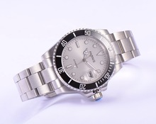 40mm Parnis Negro Dial de Plata Bisel Giratorio con Reloj luminoso Manos Caja de Acero Inoxidable Reloj de Pulsera Automático