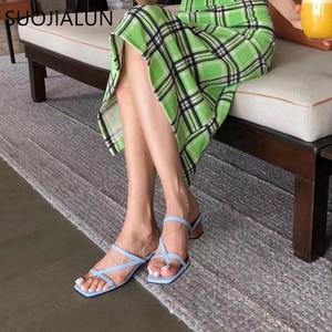 Image 5 - SUOJIALUN 2019 Brand Summer Women Slipper Low Heel  Slides Female Peep Toe Square Heel Sandal Vacation Flip Flops mujer Shoes
