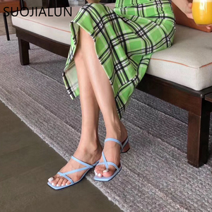 Image 5 - SUOJIALUN 2019 מותג קיץ נשים נעל נמוך נשי שקופיות עקב פיפ הבוהן כיכר העקב סנדל חופשת כפכפים mujer נעליים