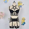 2016 mujeres de la Manera Bra arnés/Garter Set Sexy Body ropa interior Gótico servidumbre Arnés OpenCage Sujetador Pentagram Arnés fetiche desgaste