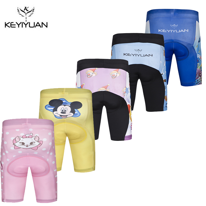 KEYIYUAN Kids 3D Padded Cycling Shorts Shockproof MTB Road Bike Shorts Children Bicycle Short Tights Ciclismo S-XXXL
