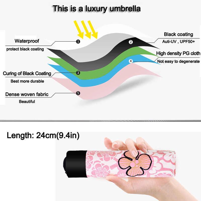 Paraguas de marca para mujer paraguas plegable Anti-UV para niña, paraguas portatil para mujer, Parasol negro resistente al viento, parapluio de calidad