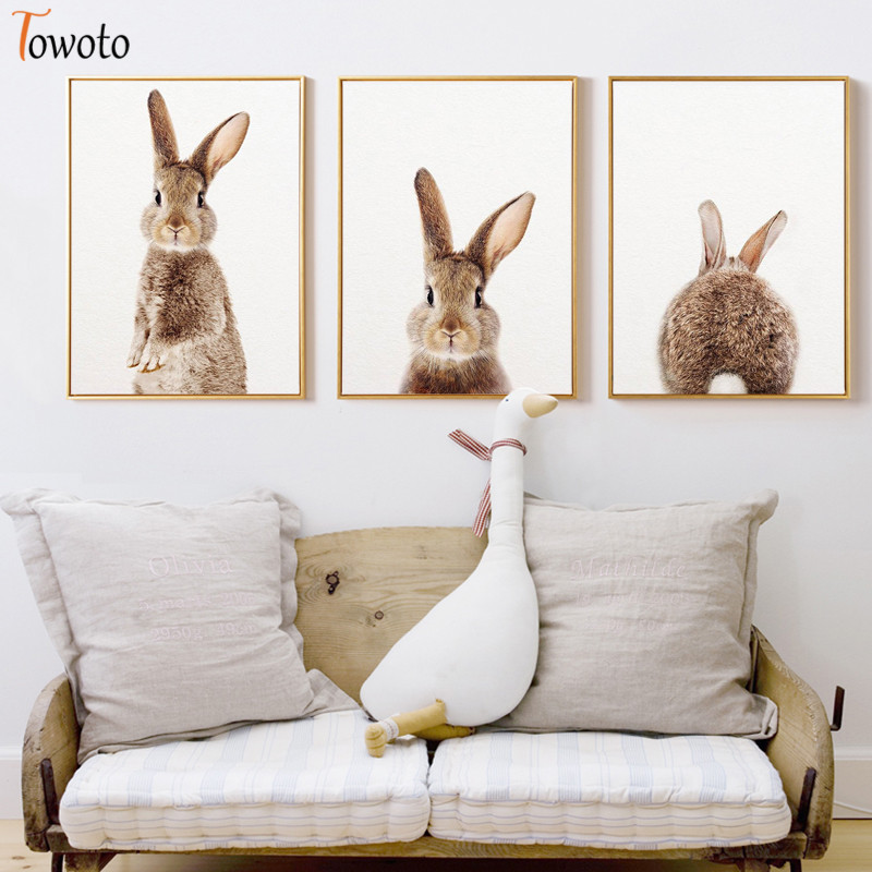 Latest Product  Nursery Bunny Prints Rabbits Poster Cute Animals Canvas Painting Unisex Wall Art Art Decoration Wal