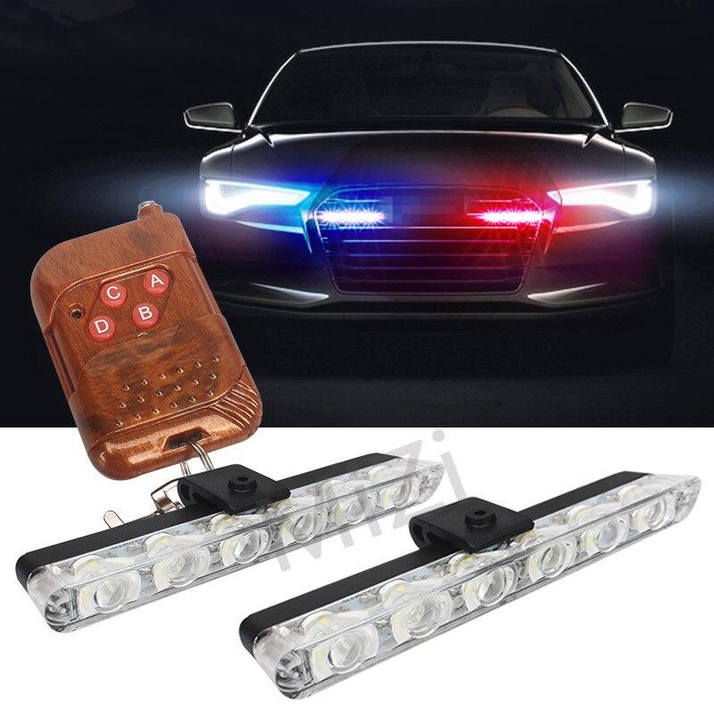 2x6 LED remoto inalámbrico Strobe luces de advertencia 12 V luz del trabajo del coche ambulancia policía luz intermitente de emergencia super brillante