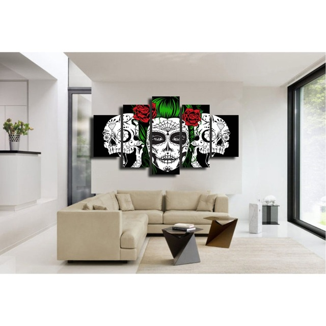 Black Background White Red Rose Skull Canvas Wall Art Print Home Decor For Living Room Modern Pictures 5 Panel Large Poster Hd