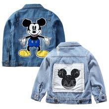 Джинсовая куртка для мальчиков с Микки Маусом; модные пальто; одежда для детей; осенняя одежда для маленьких девочек; Верхняя одежда; джинсовые куртки с героями мультфильмов; пальто